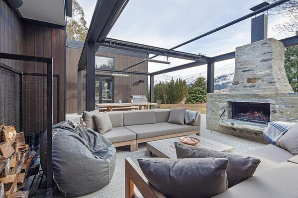 Douglas outdoor fireplace  located in a stunning entertaining area
