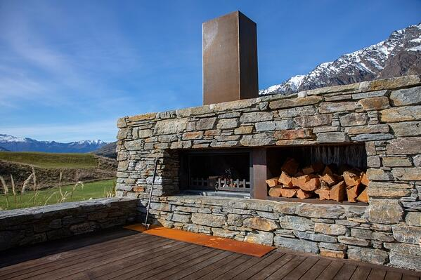 outdoor fireplace with southern style
