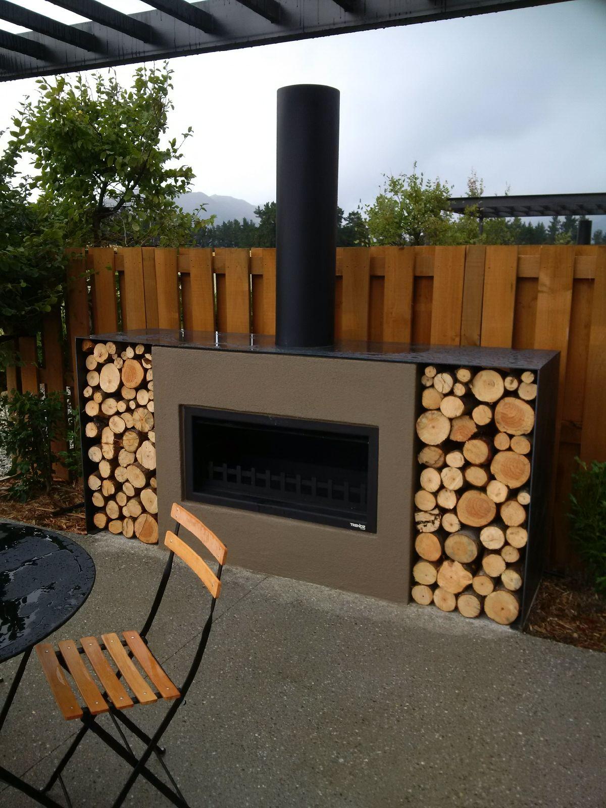 Modern looking outdoor fireplace