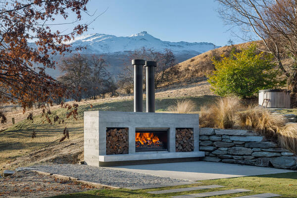Entertaining areas with an outdoor fireplace