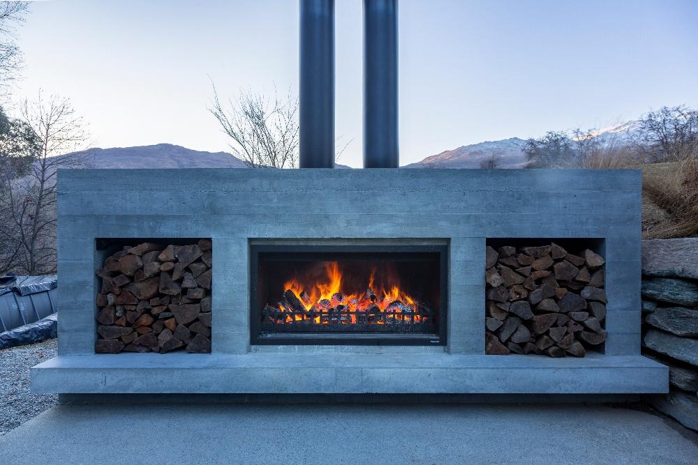 Custom design outdoor fireplace