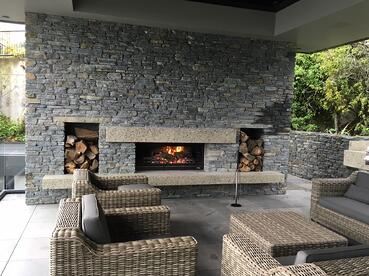 custom stone design outdoor fireplace queenstown