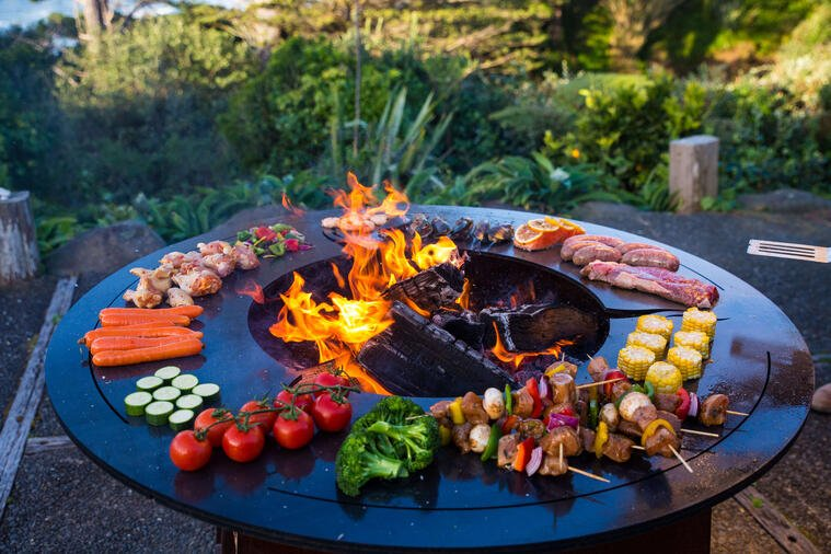 Cooking food on a fire pit