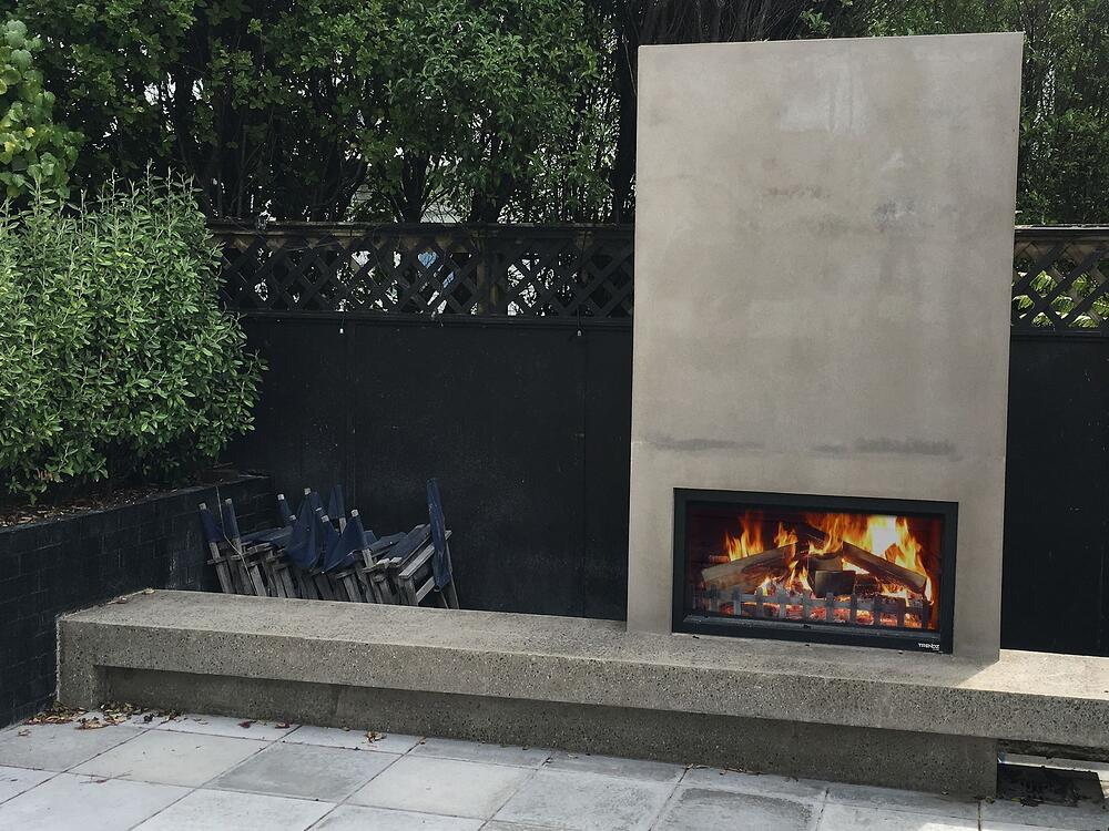 The Hudson outdoor fireplace - concrete finish