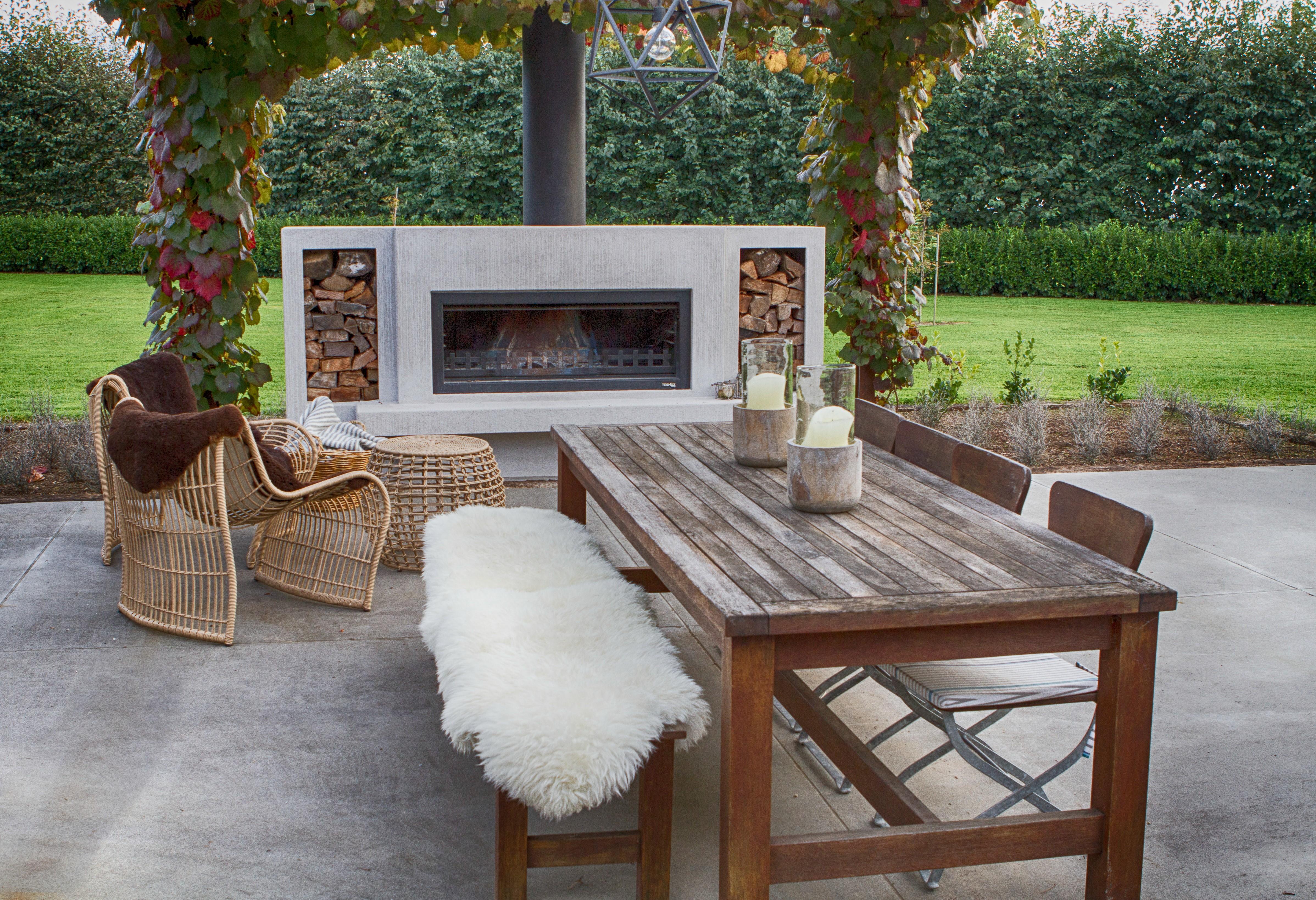 Designer outdoor fireplace from Trendz Outdoors