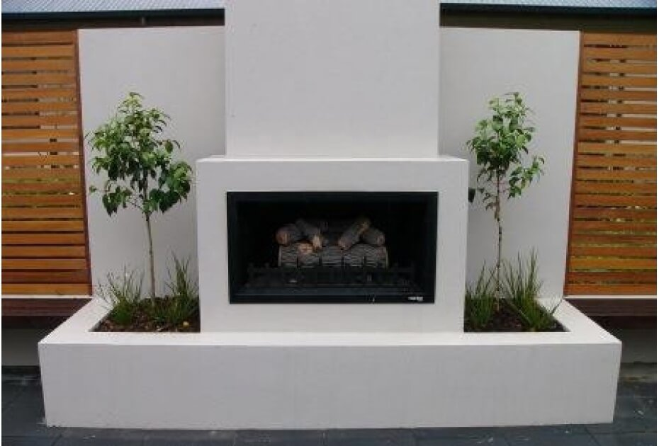 Hudson outdoor fireplace  located in a stunning entertaining area