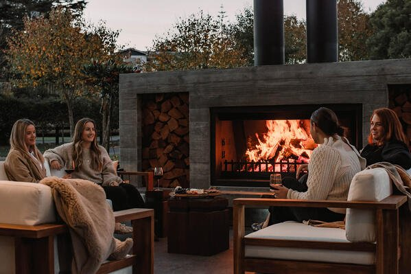 Extra large outdoor fireplace