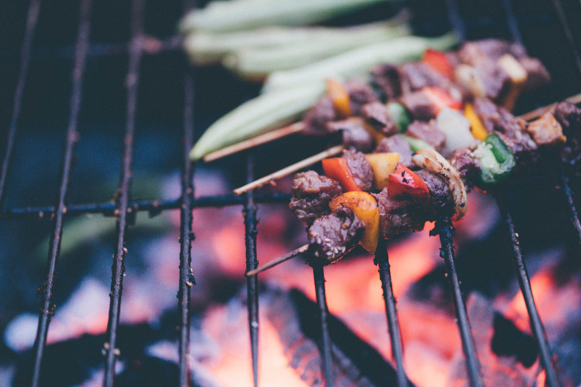 cooking on an outdoor fireplace