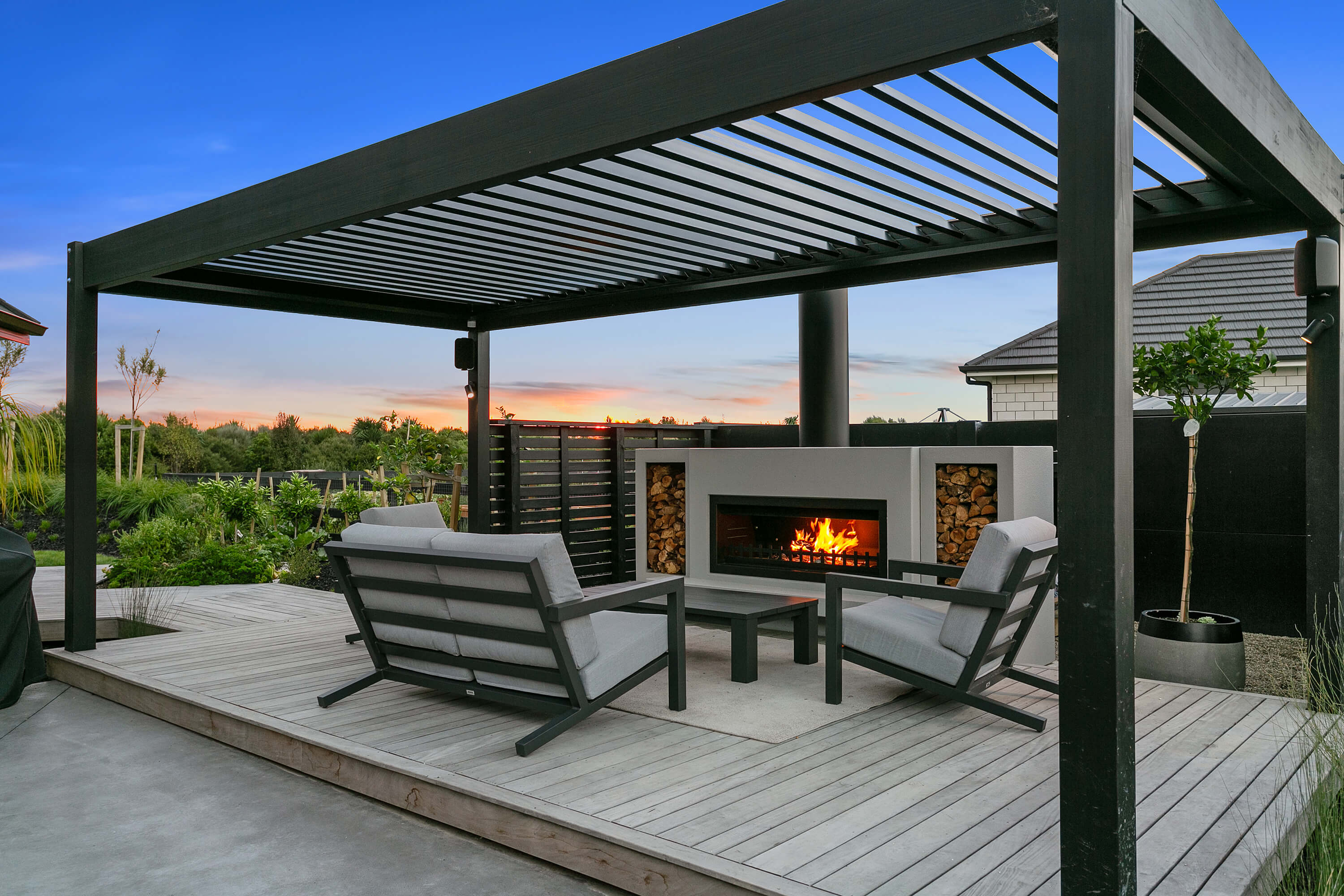 Designer outdoor fireplace