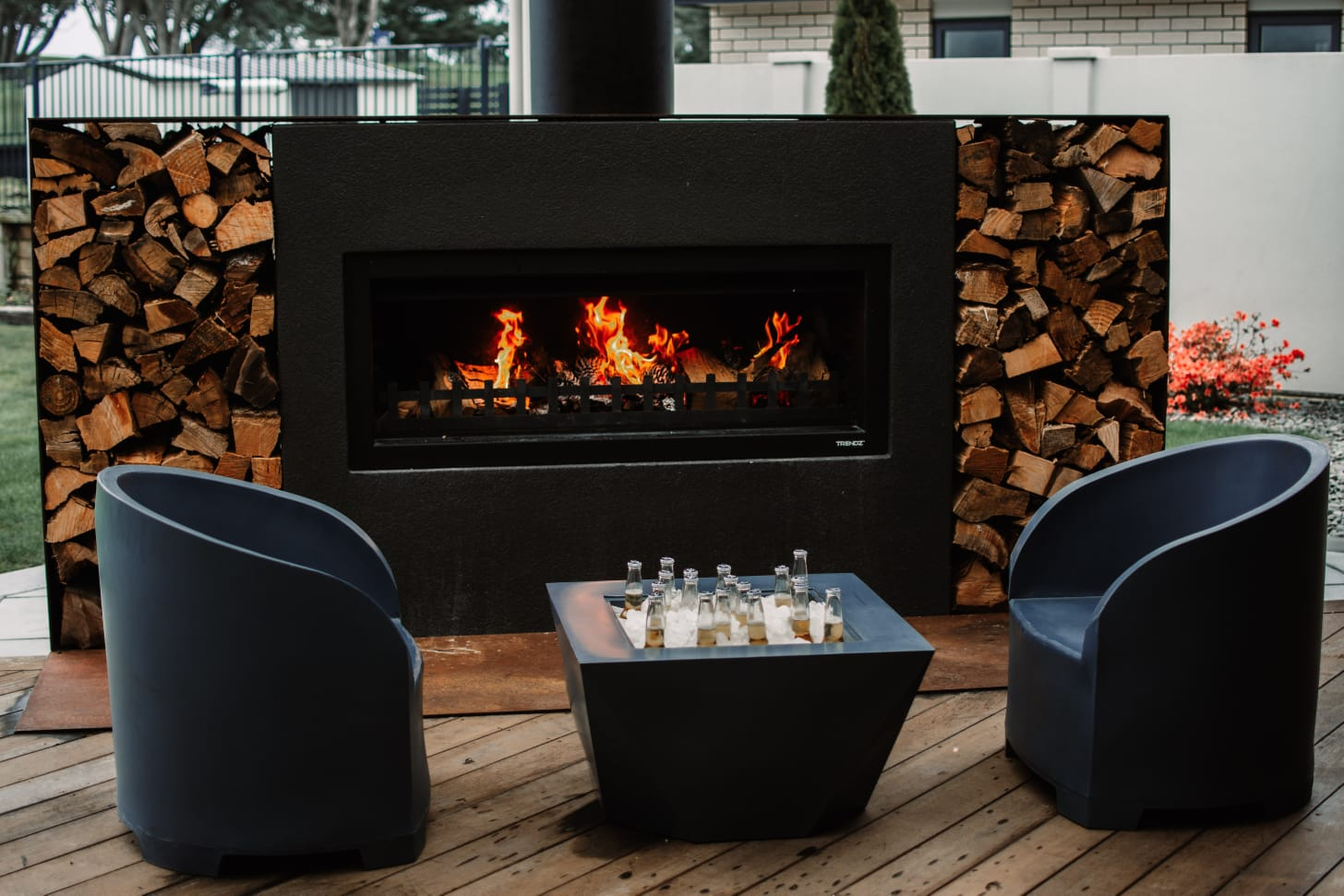 Outdoor fireplace painted black