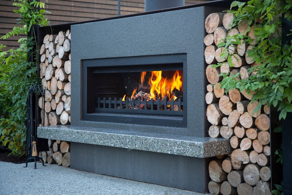 polished concrete hearth for fireplace