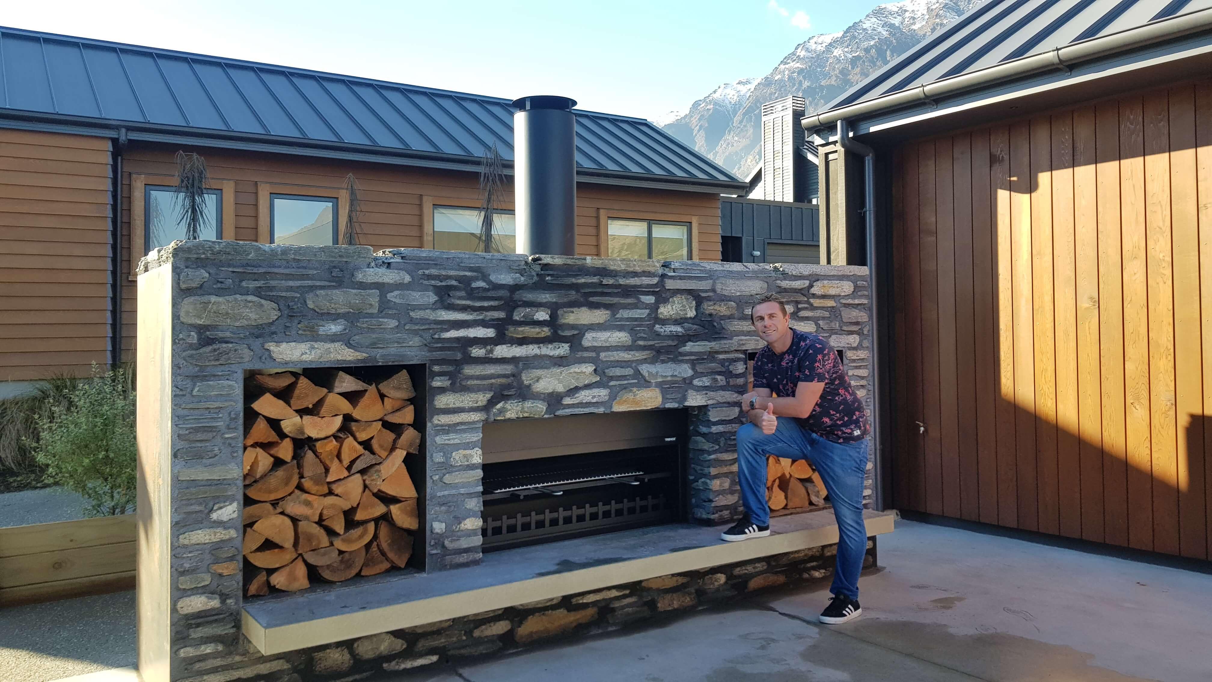 Justin Marshall's custom made outdoor fireplace