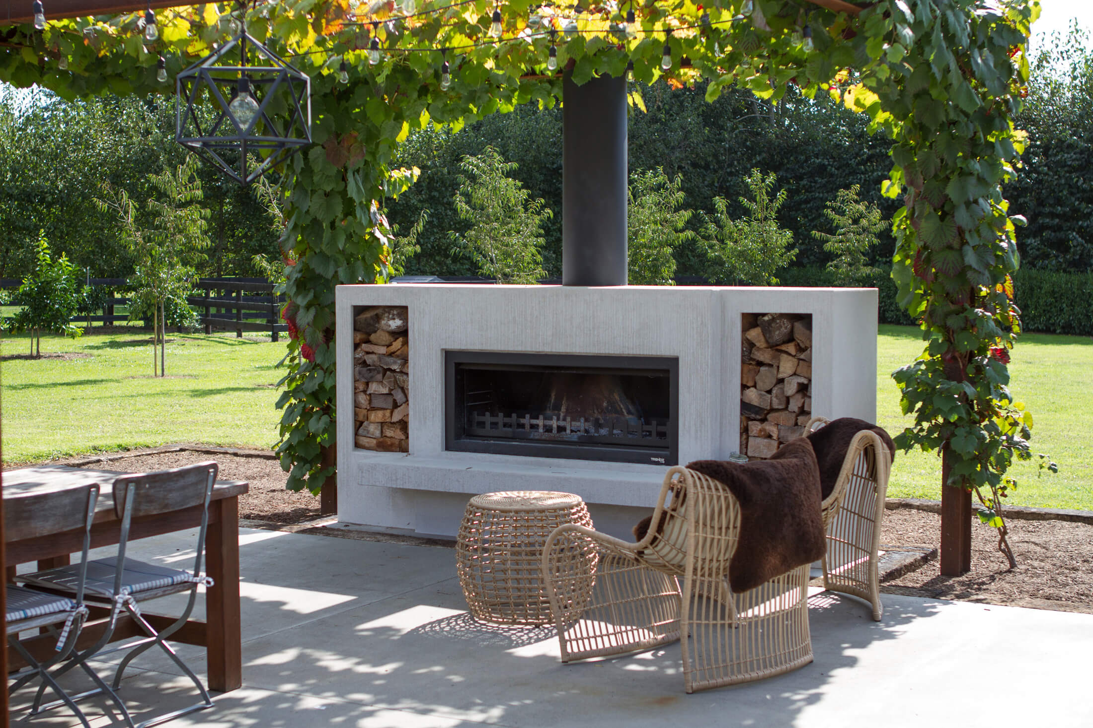 Concrete wood boxes for outdoor fire