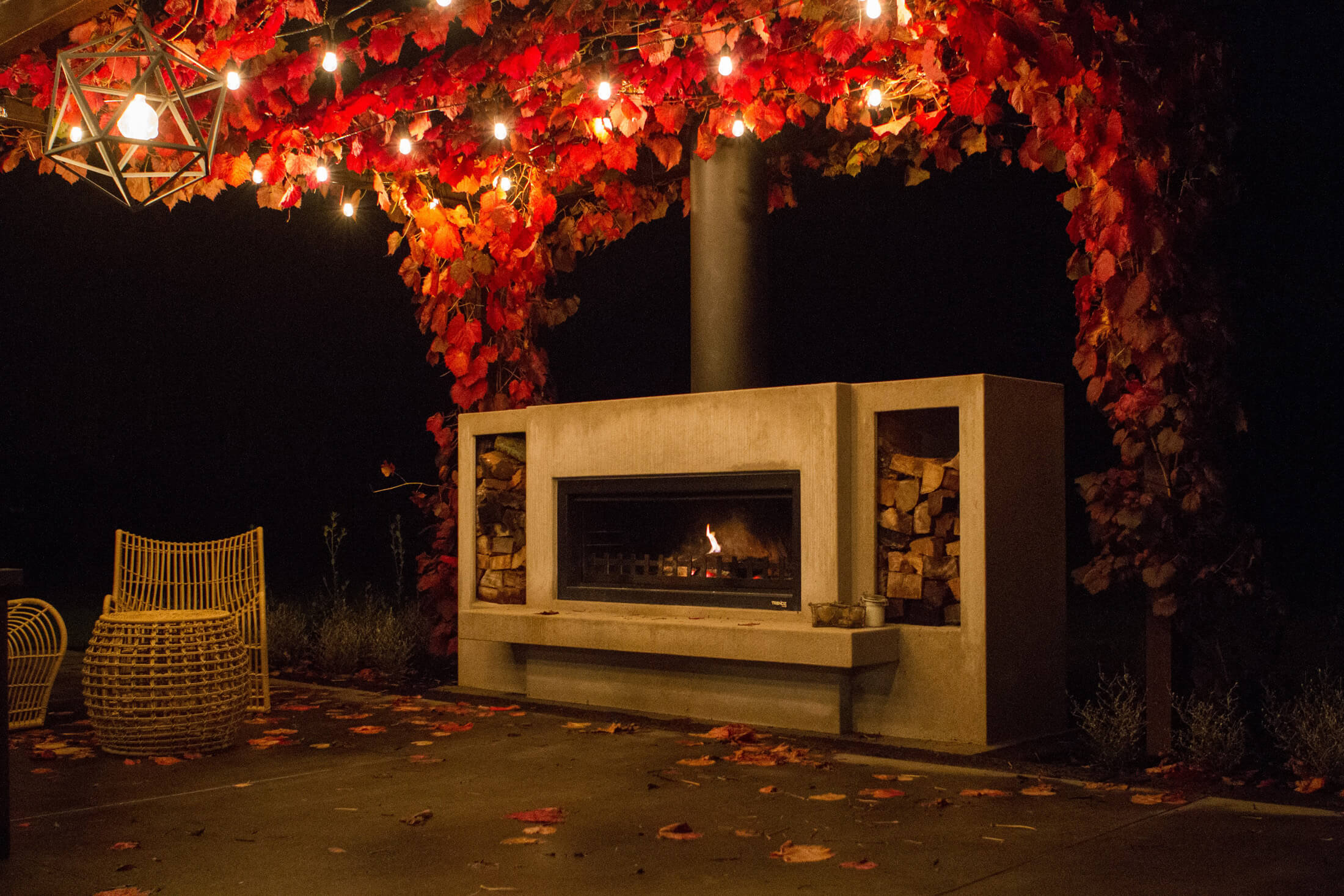 fireplace with concrete hearth
