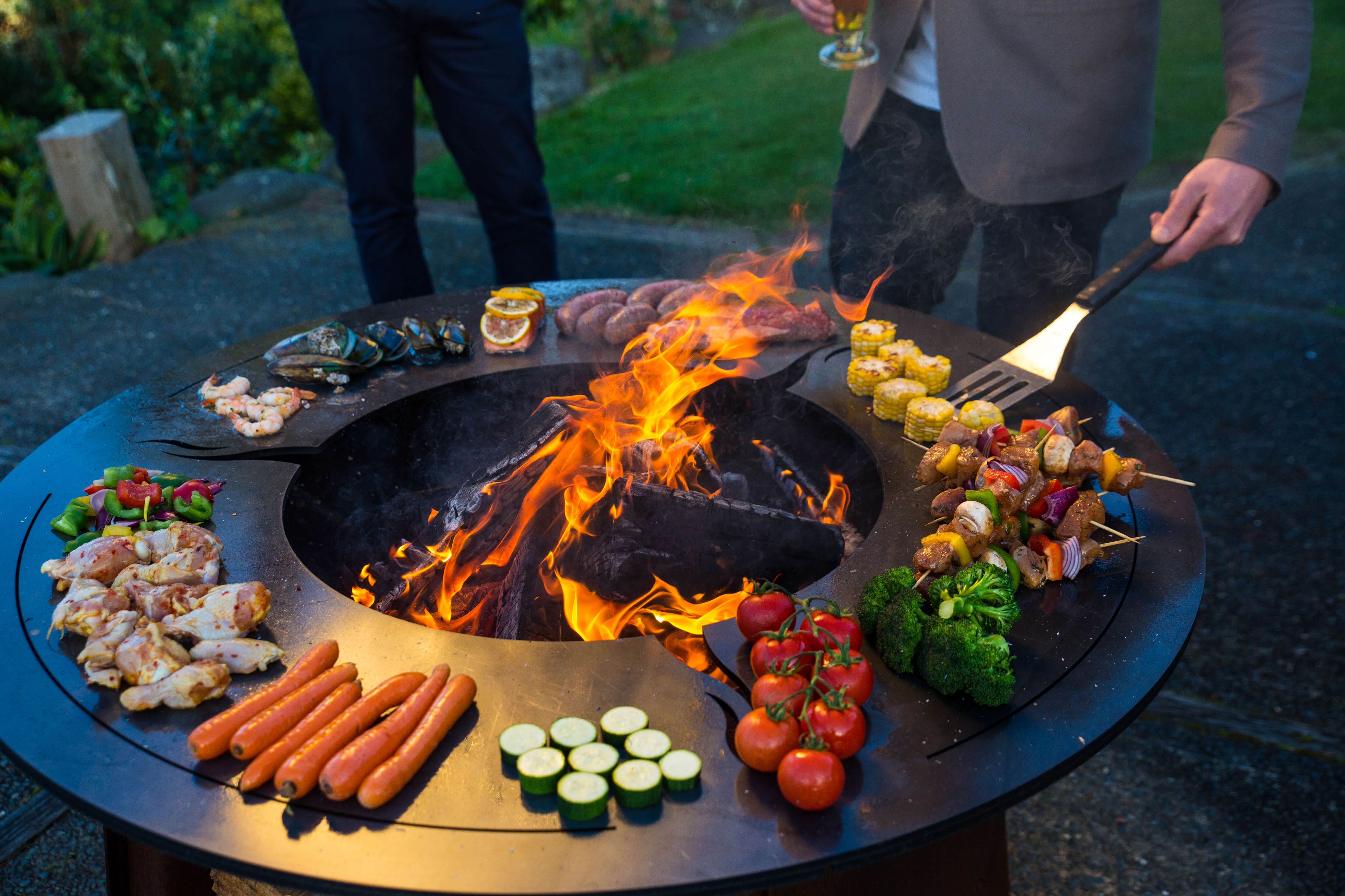 Cooking on a firepit