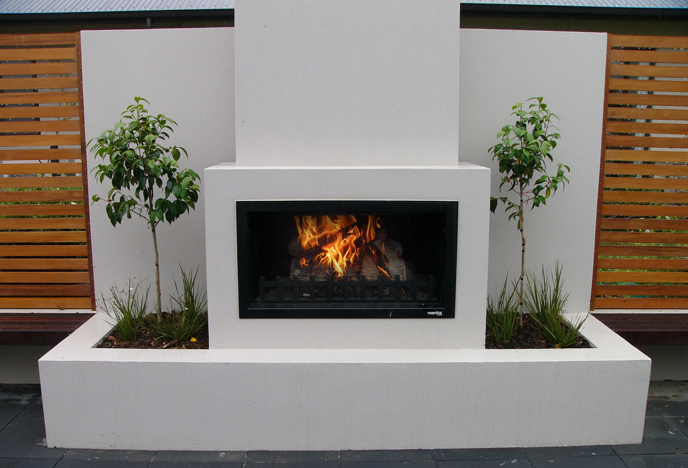 Wood fired outdoor fireplace