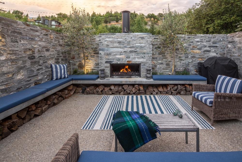 Custom designed outdoor fireplace feature