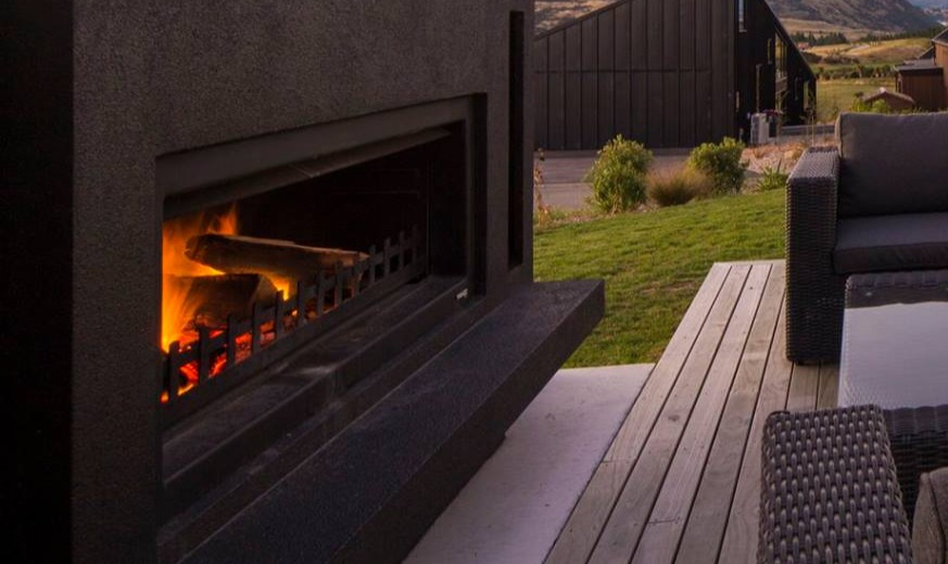 Black outdoor fireplace