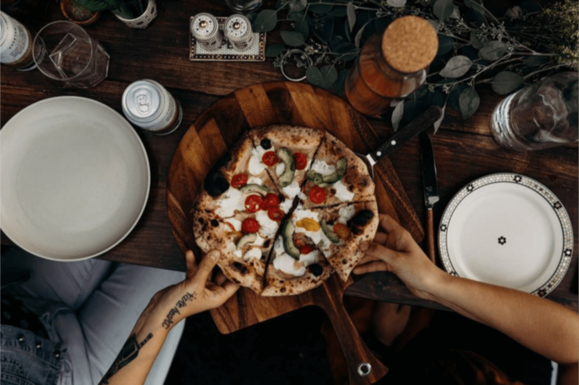 Homemade wood fired pizzas