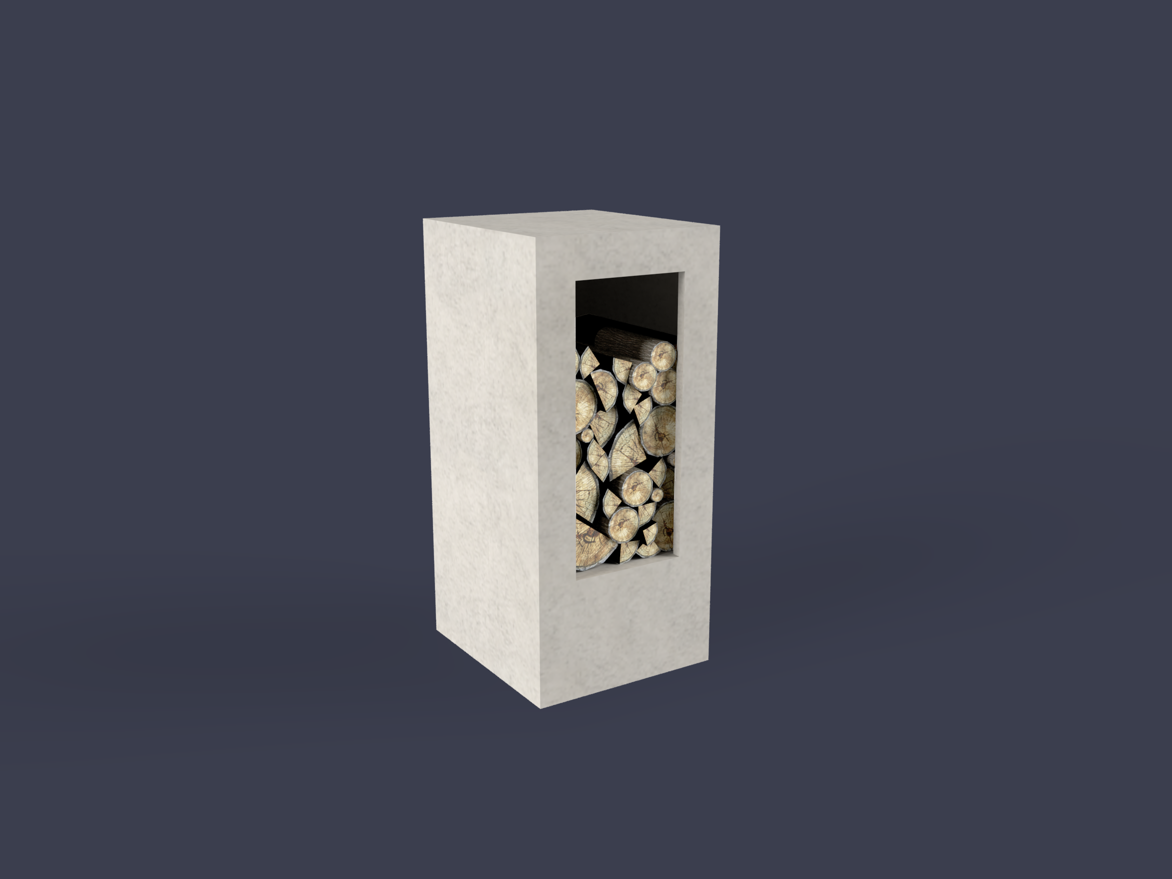 Concrete wood storage for outdoor fireplace