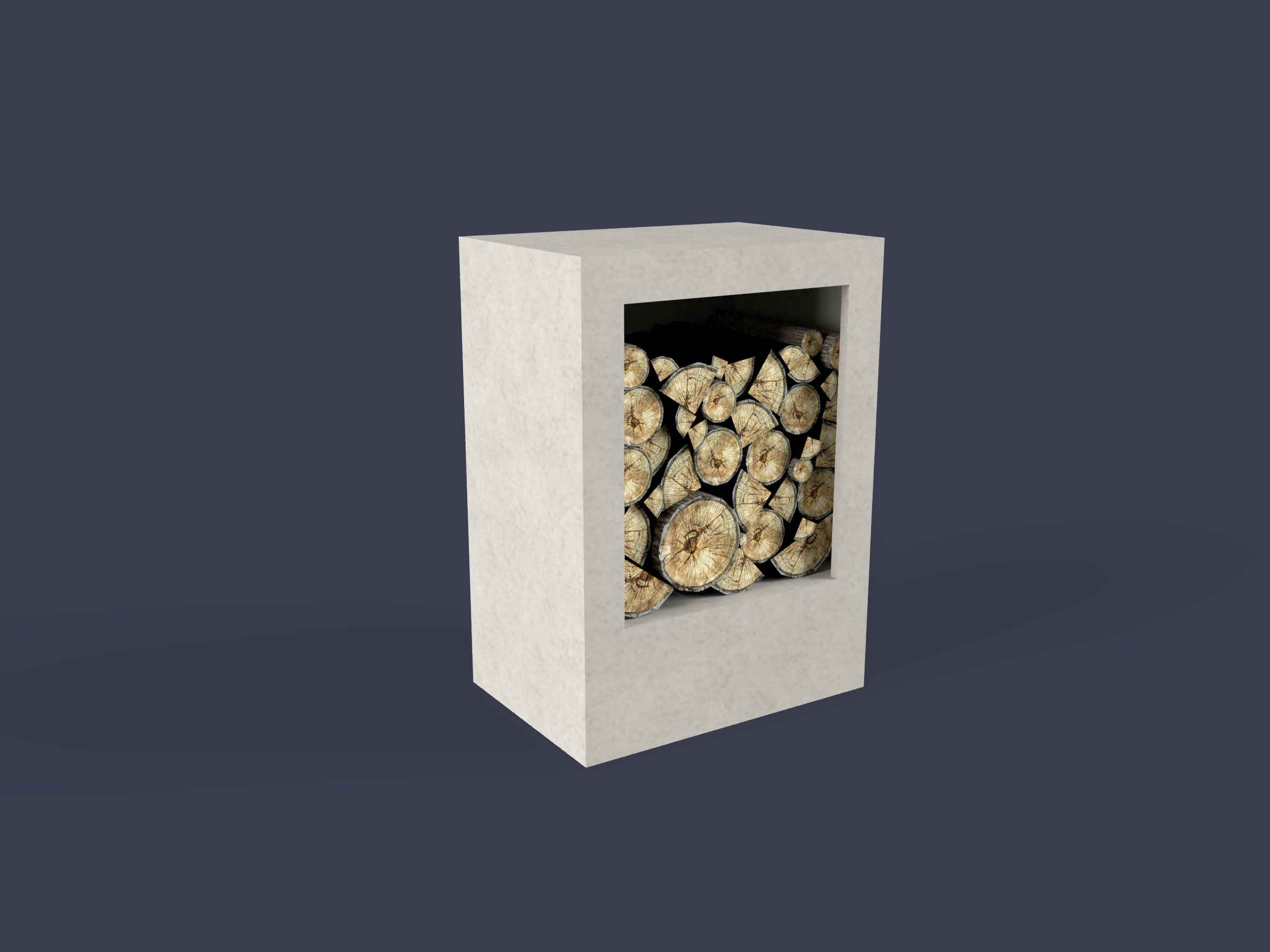 Concrete wood boxes for fireplace
